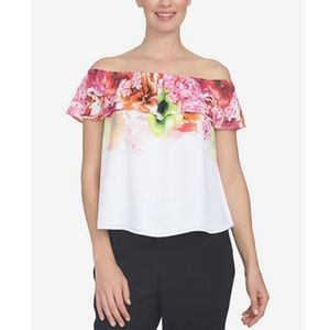NWT CeCe off the shoulder floral blouse